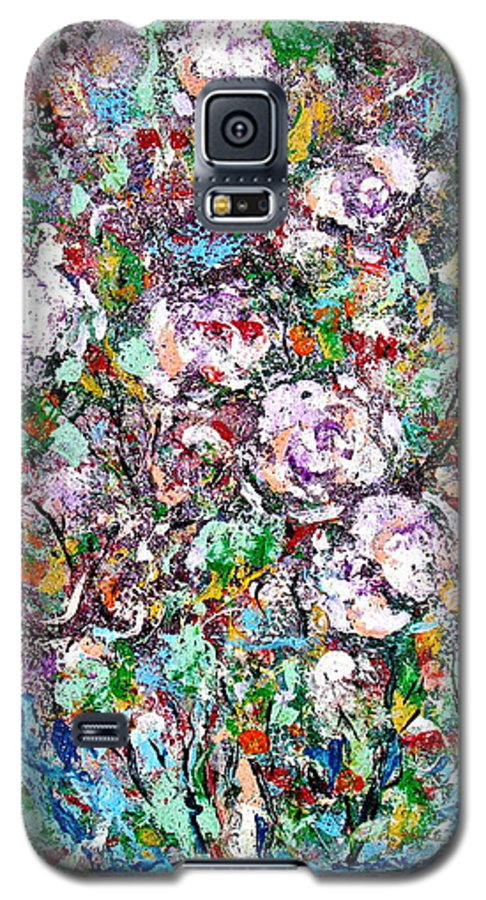 Abstract Galaxy S5 Case featuring the painting Purple Passions by Natalie Holland