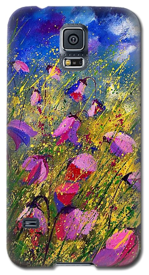 Poppies Galaxy S5 Case featuring the painting Purple Wild Flowers by Pol Ledent