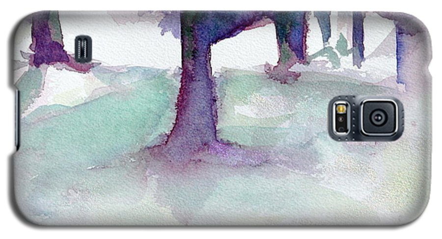 Landscape Galaxy S5 Case featuring the painting Purplescape II by Jan Bennicoff