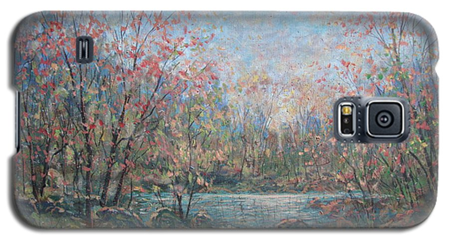 Landscape Galaxy S5 Case featuring the painting Quiet Evening. by Leonard Holland