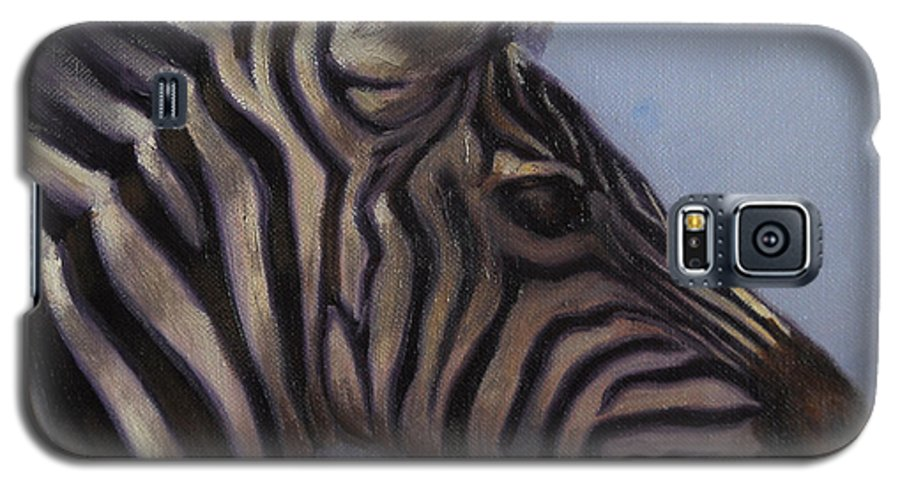 Zebra Galaxy S5 Case featuring the painting Quiet Profile by Greg Neal