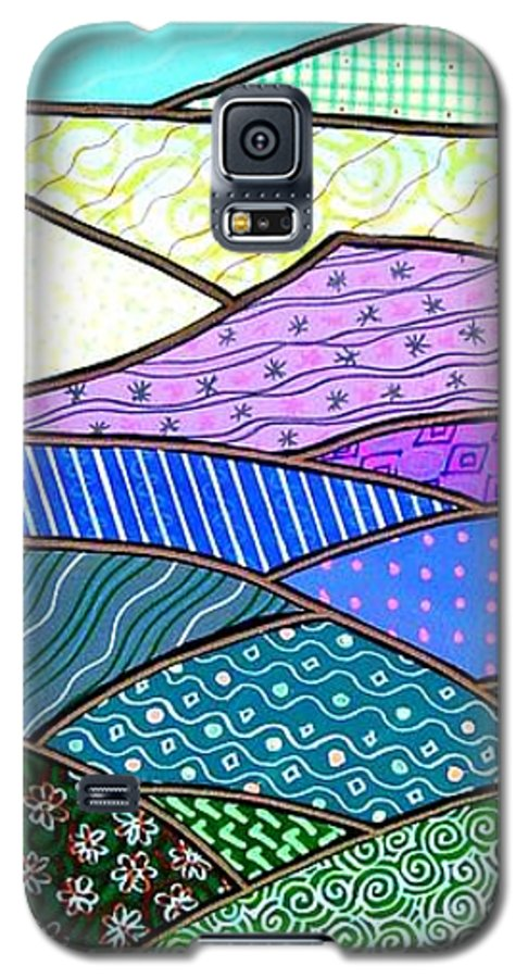Mountain Galaxy S5 Case featuring the painting Quilted Mountain by Jim Harris
