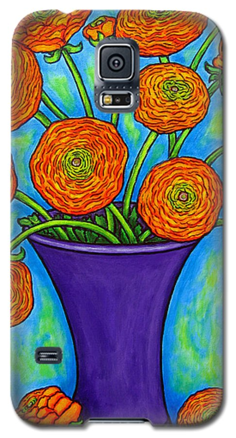 Green Galaxy S5 Case featuring the painting Radiant Ranunculus by Lisa Lorenz