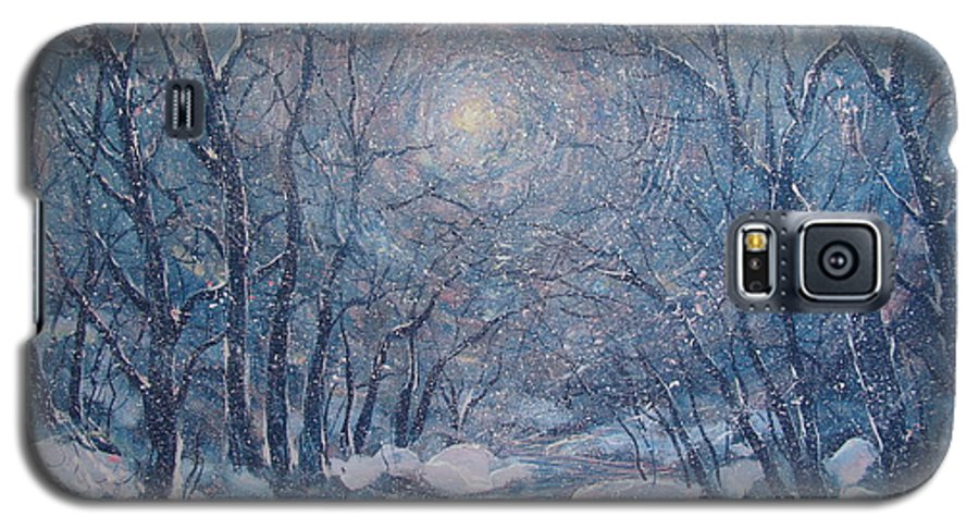 Snow Landscape Galaxy S5 Case featuring the painting Radiant Snow Scene by Leonard Holland