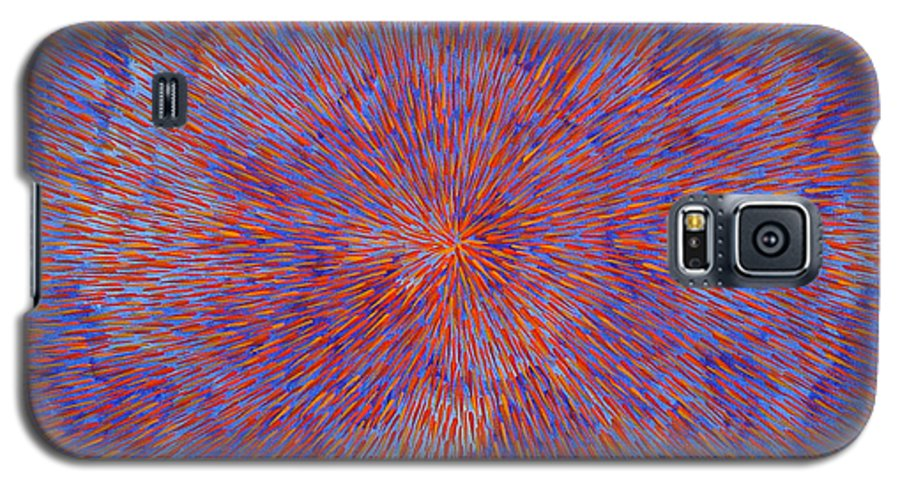 Abstract Galaxy S5 Case featuring the painting Radiation With Blue And Red by Dean Triolo