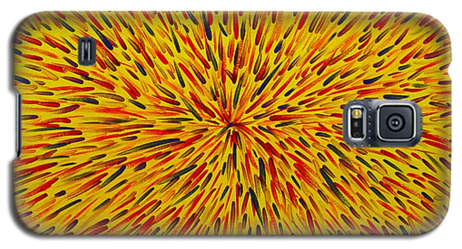 Abstract Galaxy S5 Case featuring the painting Radiation Yellow by Dean Triolo