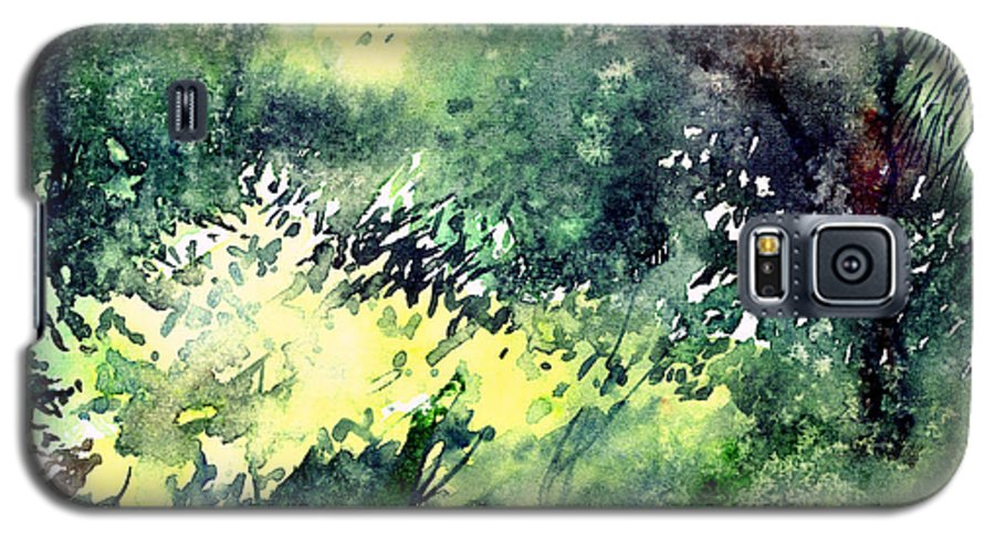 Landscape Watercolor Nature Greenery Rain Galaxy S5 Case featuring the painting Rain Gloss by Anil Nene