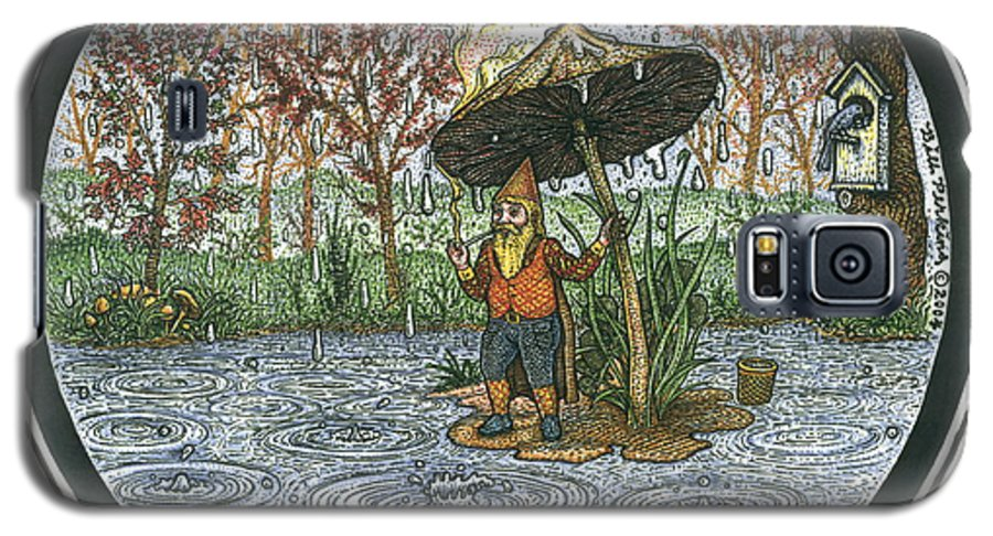 Rain Galaxy S5 Case featuring the drawing Rain Gnome Rain Circle by Bill Perkins