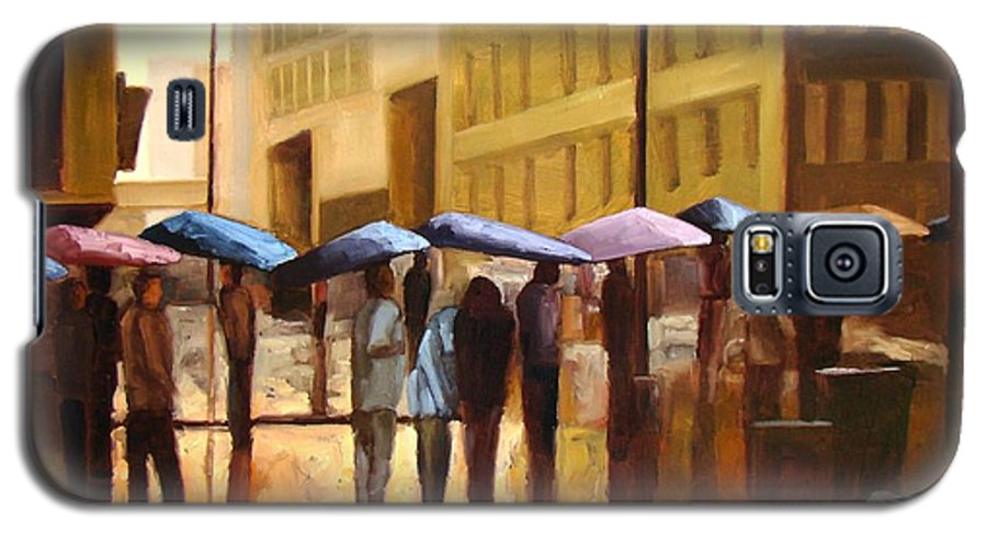 Cityscape Galaxy S5 Case featuring the painting Rain In Manhattan Number Seventeen by Tate Hamilton