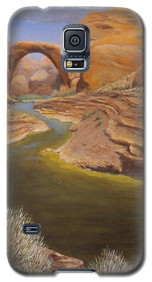 Rainbow Bridge Galaxy S5 Case featuring the painting Rainbow Bridge by Jerry McElroy
