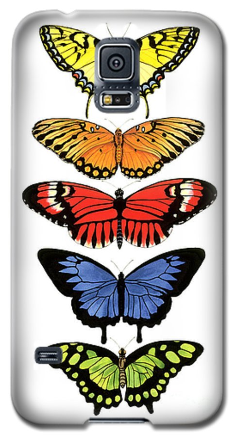 Butterflies Galaxy S5 Case featuring the painting Rainbow Butterflies by Lucy Arnold