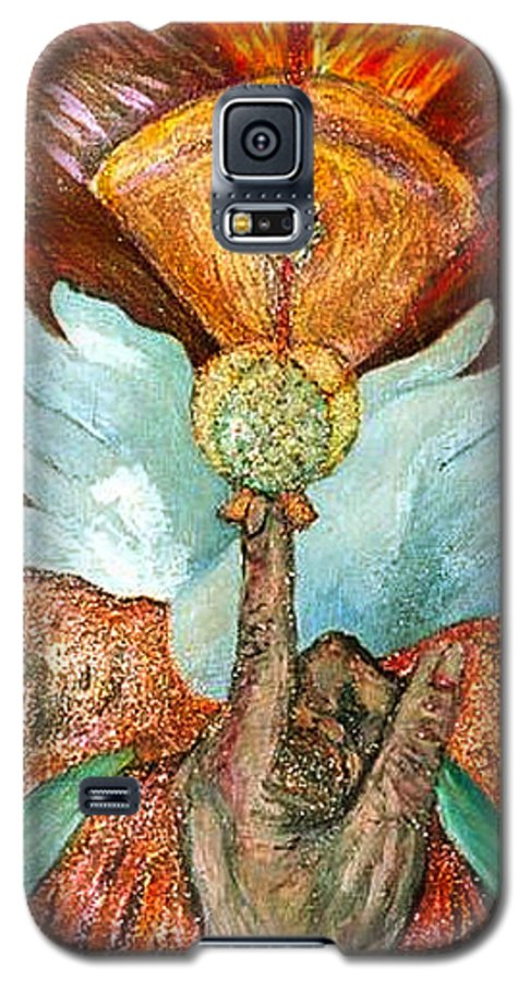 Spiritual Galaxy S5 Case featuring the painting Raise It Golden by Stephen Mead