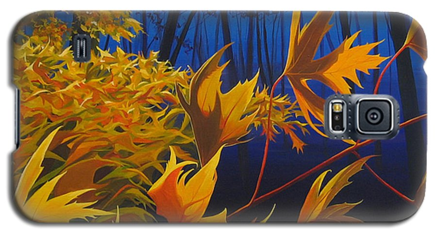 Autumn Leaves Galaxy S5 Case featuring the painting Raucous October by Hunter Jay
