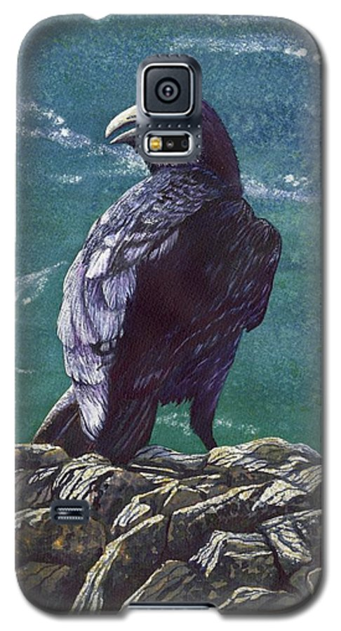 Bird Galaxy S5 Case featuring the painting Raven by Catherine G McElroy