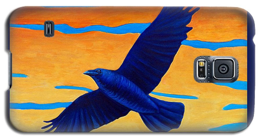 Raven Galaxy S5 Case featuring the painting Raven Rising by Brian Commerford