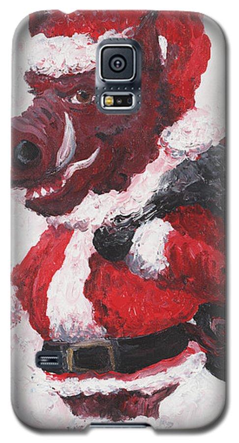 Santa Galaxy S5 Case featuring the painting Razorback Santa by Nadine Rippelmeyer