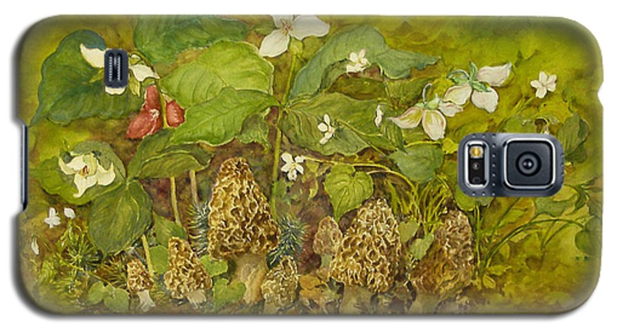 Mushrooms;trillium;spring;violets;woods;woodland;morels;watercolor Painting; Galaxy S5 Case featuring the painting Ready For Pickin' by Lois Mountz