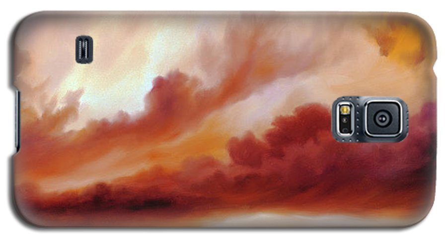 Skyscape Galaxy S5 Case featuring the painting Receding Storm Sketch IIi by James Christopher Hill