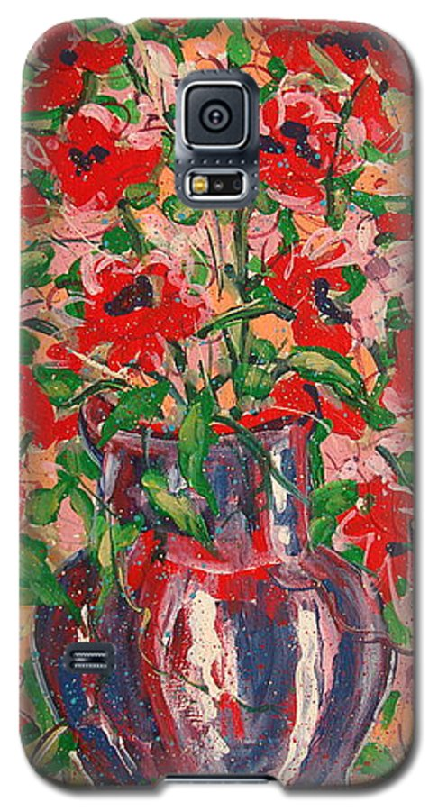 Flowers Galaxy S5 Case featuring the painting Red And Pink Poppies. by Leonard Holland
