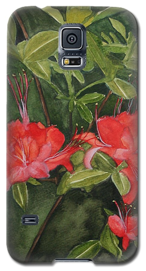 Flowers Galaxy S5 Case featuring the painting Red Blooms On The Parkway by Jean Blackmer