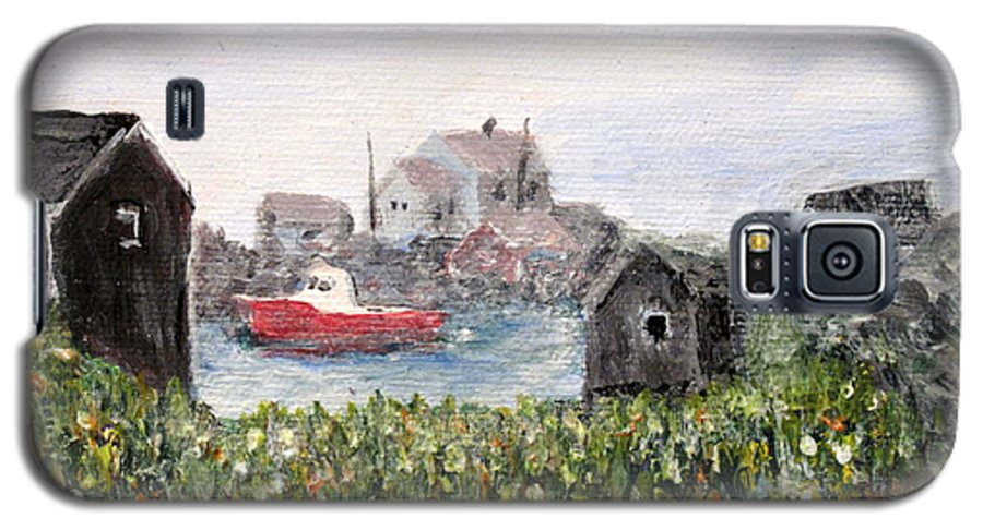 Red Boat Galaxy S5 Case featuring the painting Red Boat In Peggys Cove Nova Scotia by Ian MacDonald