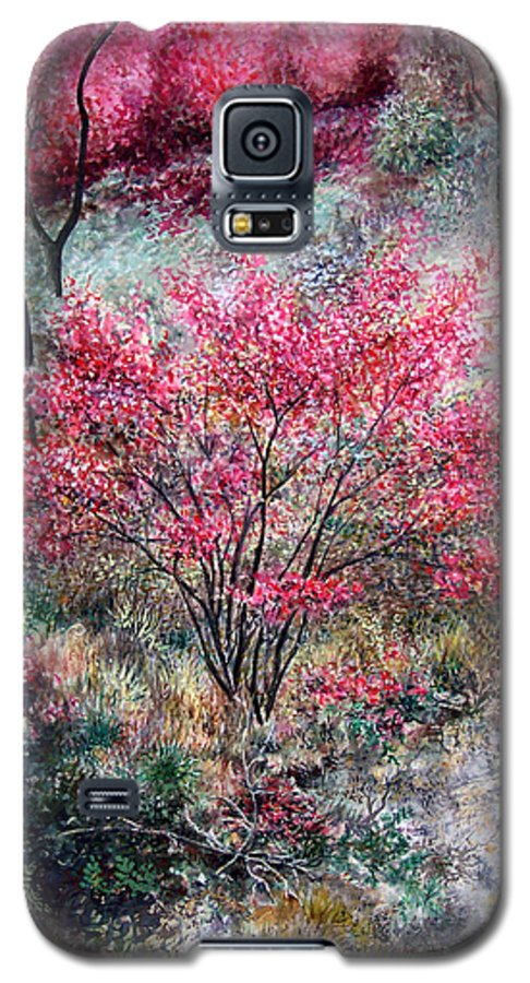 Landscape Galaxy S5 Case featuring the painting Red Bush by Valerie Meotti
