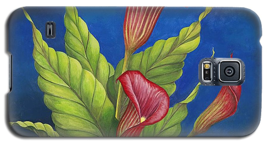 Red Calla Lillies On Blue Background Galaxy S5 Case featuring the painting Red Calla Lillies by Carol Sabo