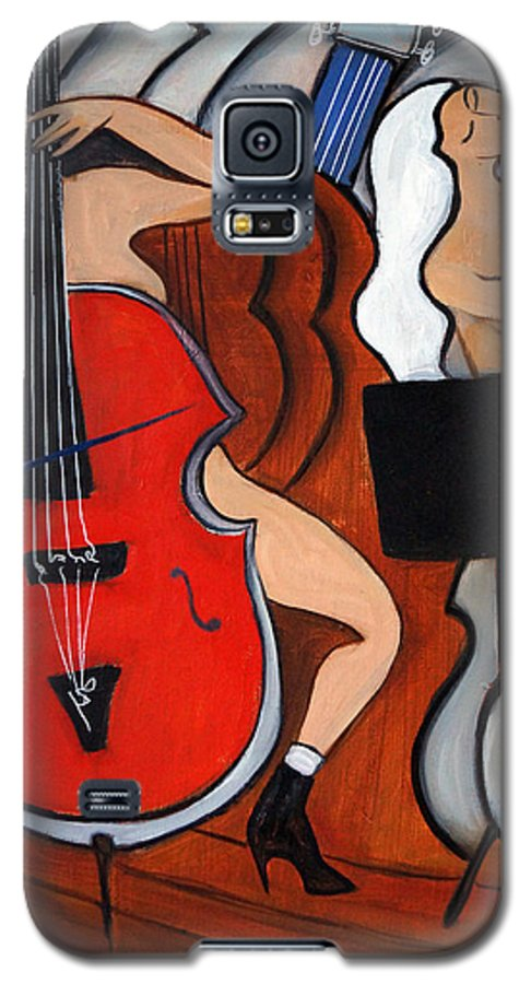 Cubic Abstract Galaxy S5 Case featuring the painting Red Cello 2 by Valerie Vescovi