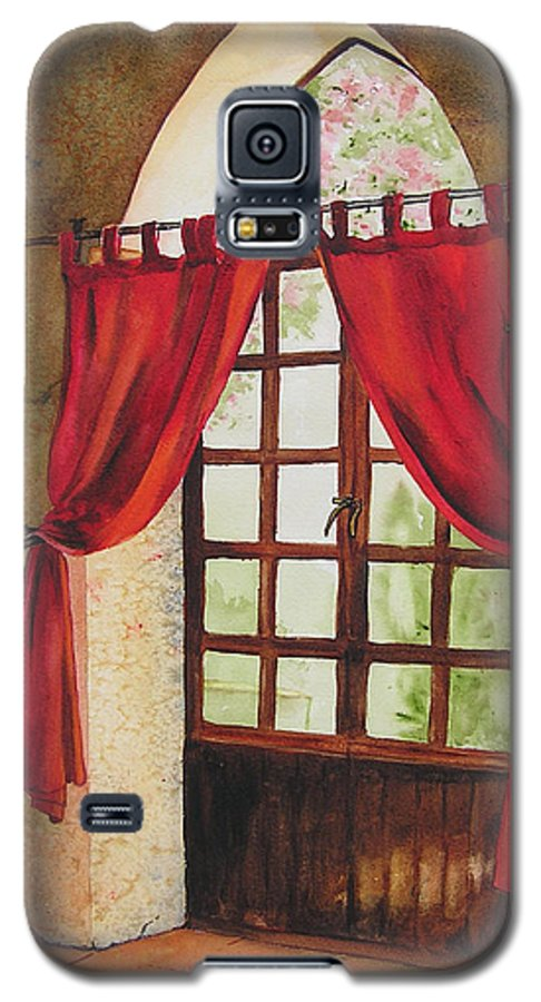 Curtain Galaxy S5 Case featuring the painting Red Curtain by Karen Stark