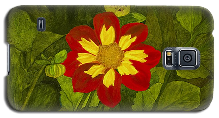 Red Galaxy S5 Case featuring the painting Red Dahlia by Louise Magno