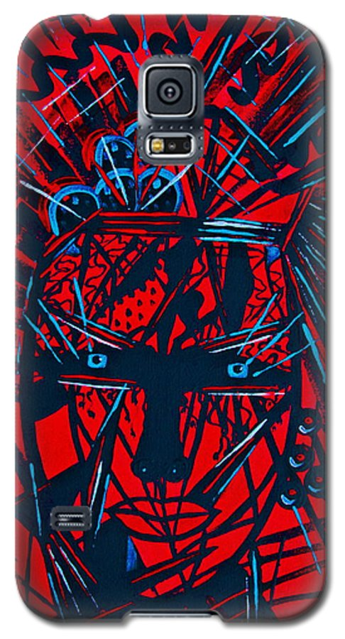 Abstract Galaxy S5 Case featuring the painting Red Exotica by Natalie Holland