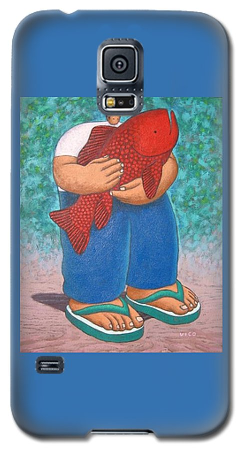 Acrylic Galaxy S5 Case featuring the painting Red Fish And Blue Trousers. by Vico Vico