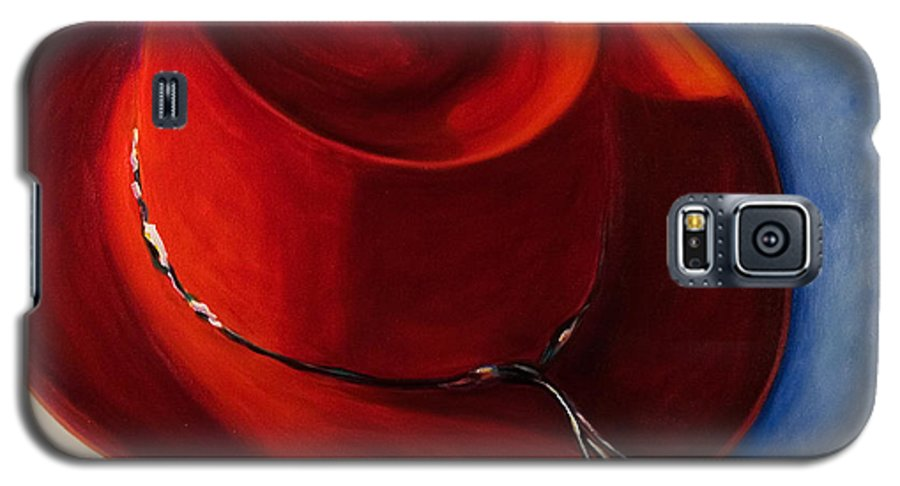 Red Hat Galaxy S5 Case featuring the painting Red Hat by Shannon Grissom