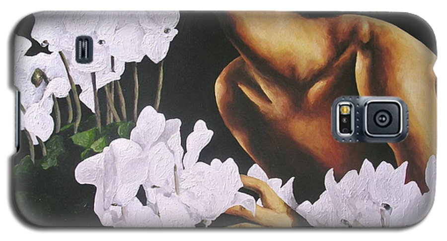 Nude Galaxy S5 Case featuring the painting Red Lips White Flowers by Trisha Lambi