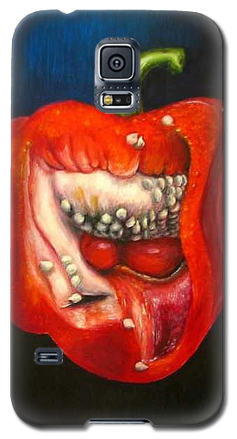 Pepper Galaxy S5 Case featuring the painting Red Pepper Oil Painting by Natalja Picugina