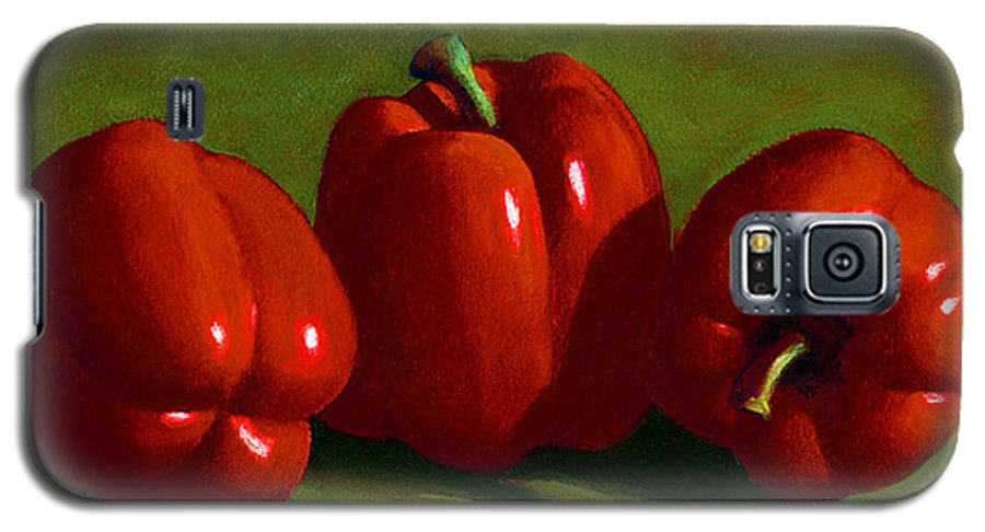 Red Peppers Galaxy S5 Case featuring the painting Red Peppers by Frank Wilson