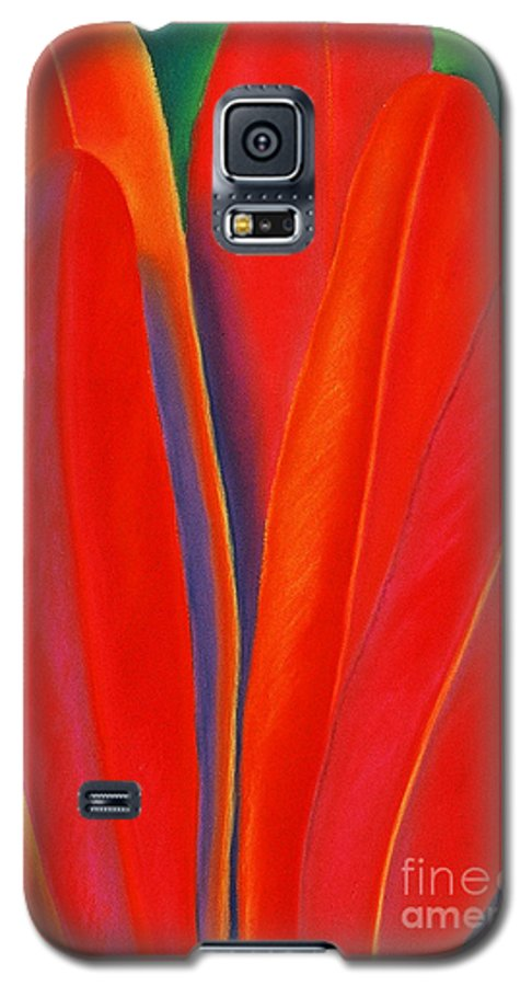 Red Galaxy S5 Case featuring the painting Red Petals by Lucy Arnold