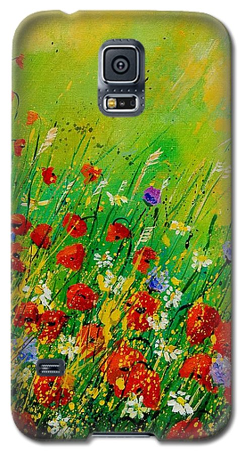 Flowers Galaxy S5 Case featuring the painting Red Poppies 450708 by Pol Ledent