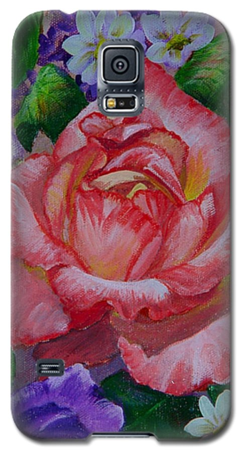 Rose Galaxy S5 Case featuring the painting Red Rose by Quwatha Valentine