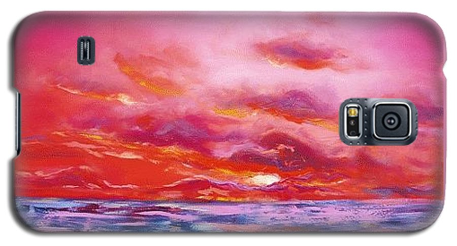 Red Galaxy S5 Case featuring the painting Red Sunset by Gina De Gorna