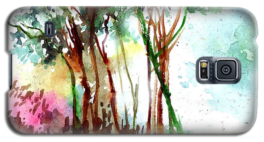 Landscape Galaxy S5 Case featuring the painting Red Trees by Anil Nene