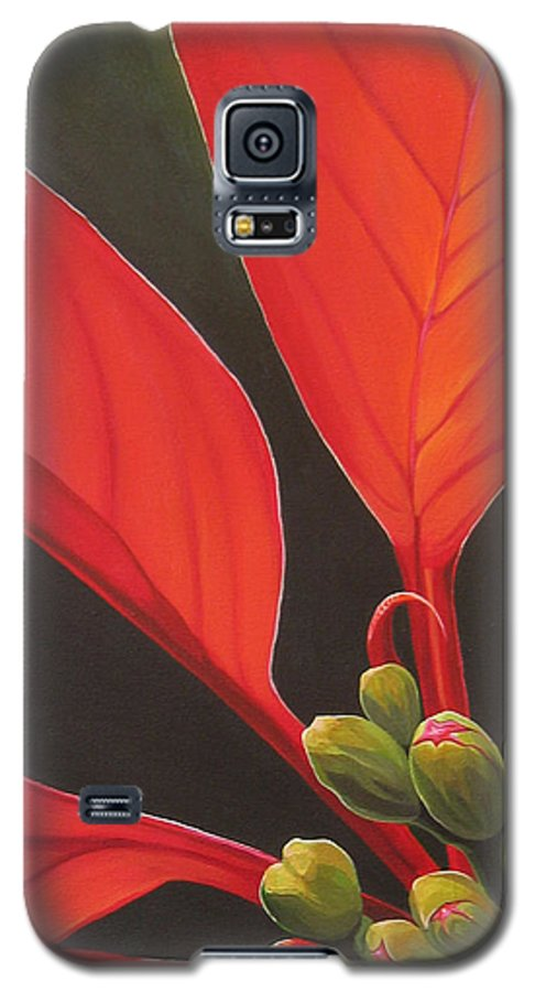 Poinsettia Closeup Galaxy S5 Case featuring the painting Red Velvet by Hunter Jay