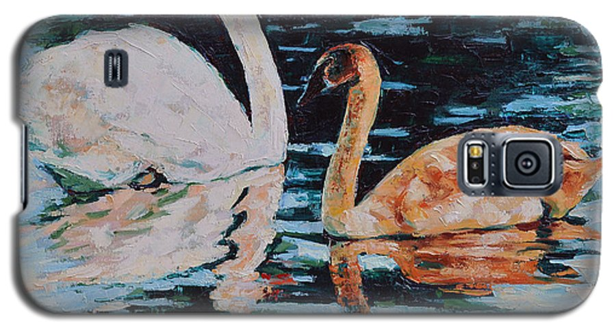 Blue Galaxy S5 Case featuring the painting Reflections by Iliyan Bozhanov