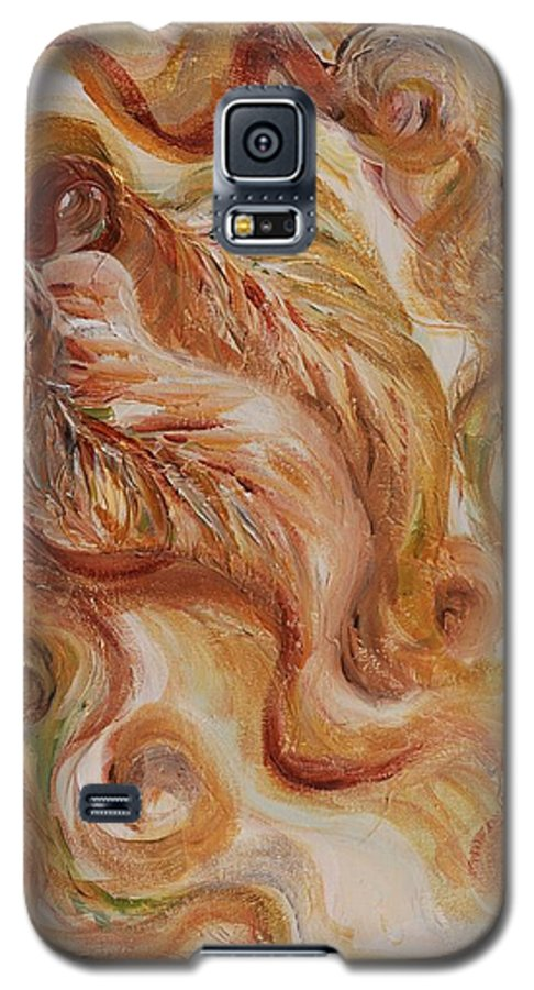 Leaves Galaxy S5 Case featuring the painting Reflective Leaves by Nadine Rippelmeyer