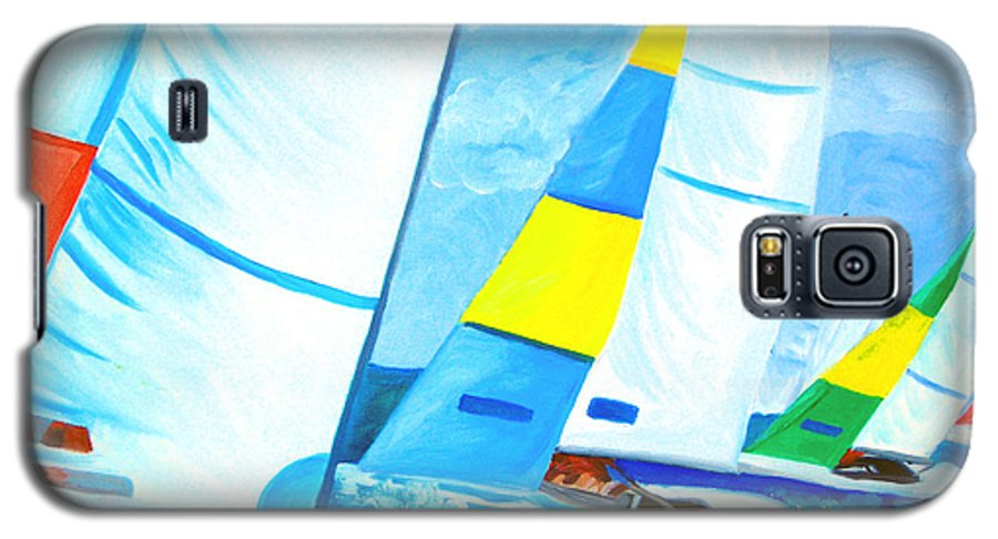 Sailing Galaxy S5 Case featuring the painting Regatta by Michael Lee