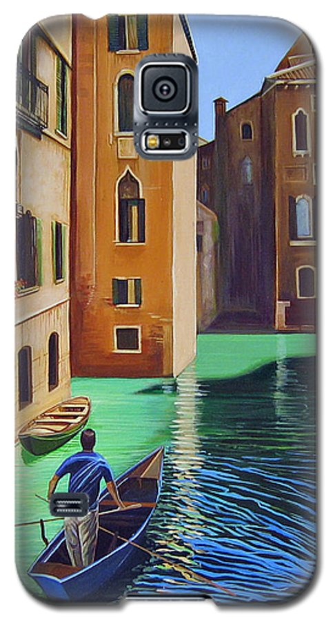 Canal In Venice Galaxy S5 Case featuring the painting Remembering Venice by Hunter Jay