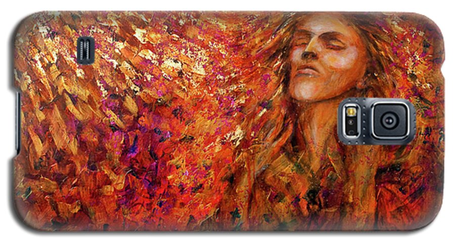 Sun Galaxy S5 Case featuring the painting Resonance by Nik Helbig