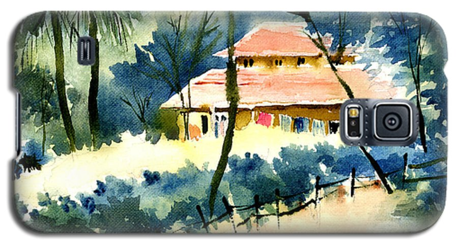 Landscape Galaxy S5 Case featuring the painting Rest House by Anil Nene