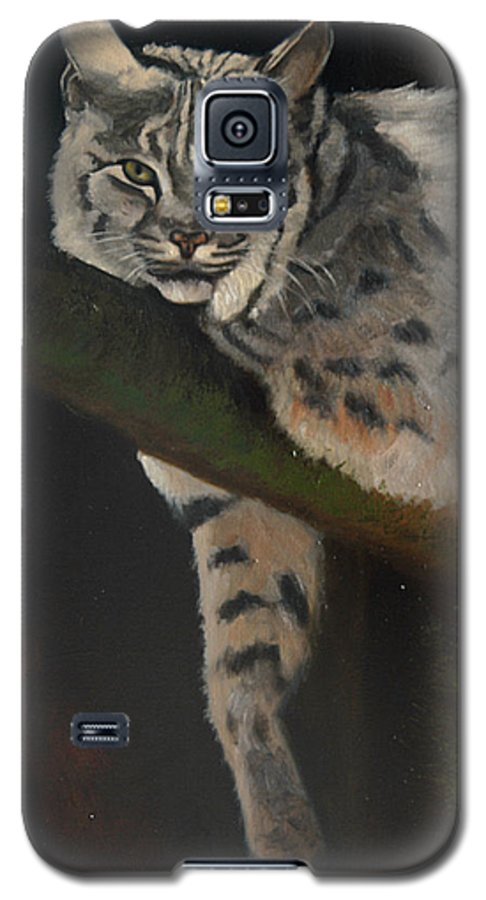 Bobcat Galaxy S5 Case featuring the painting Resting Up High by Greg Neal