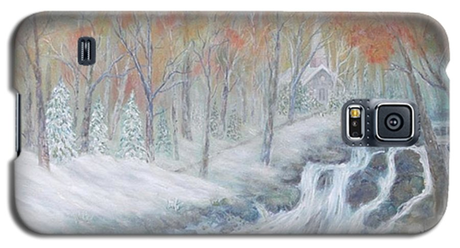Snow; Landscape; Church Galaxy S5 Case featuring the painting Reverence by Ben Kiger